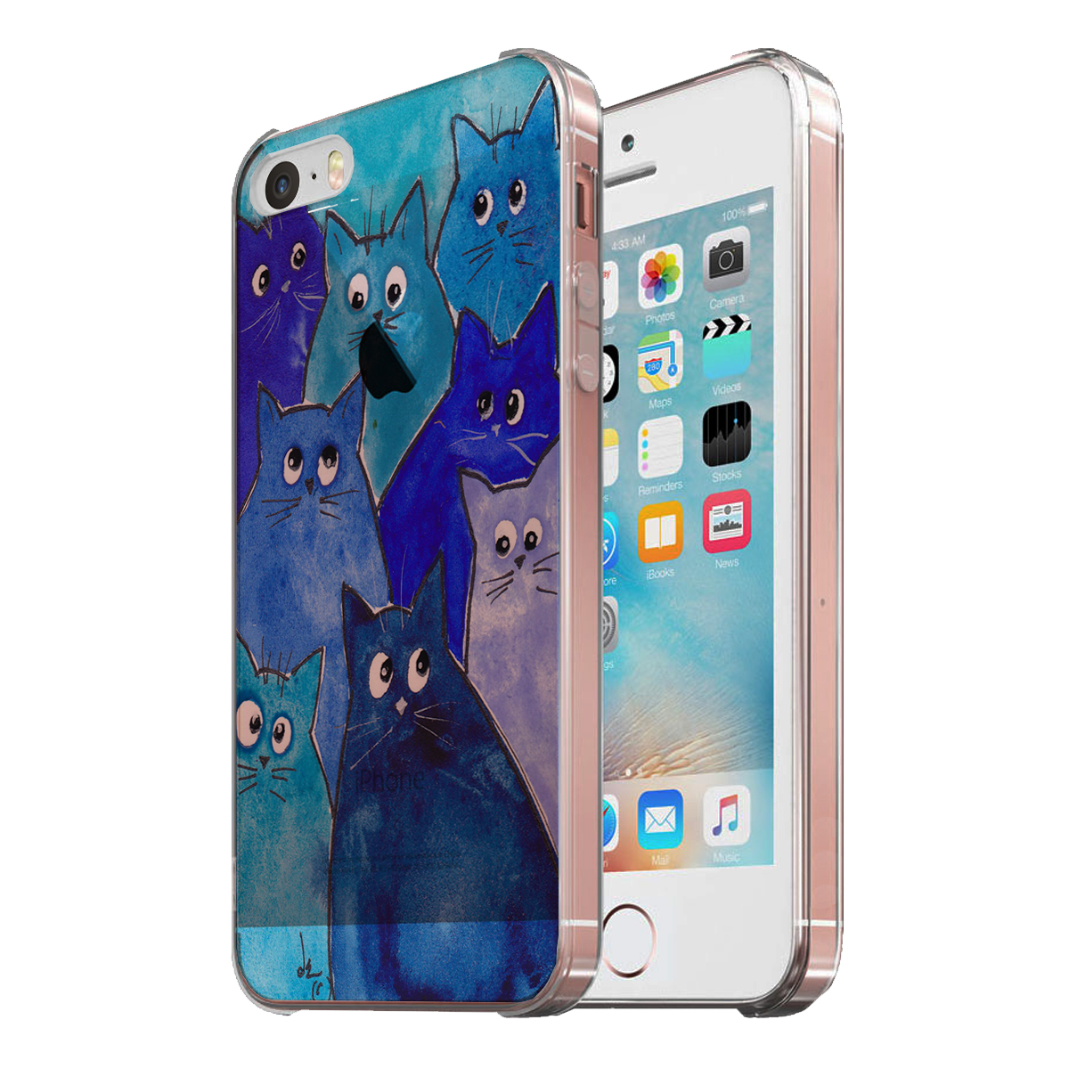 KuzmarK Clear Cover Case fits iPhone SE & iPhone 5 - Whacky Blue Kitties Abstract Cat Art by Denise Every