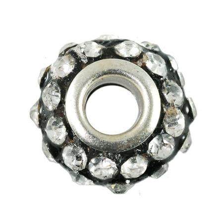 (Large Hole Rhinestone Bead 14x9mm Crystal on Black)