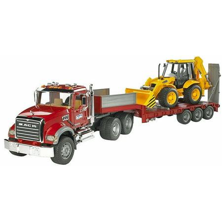 Bruder Mack Granite Flatbed Truck with JCB Loader Backhoe - Mack Truck Hats