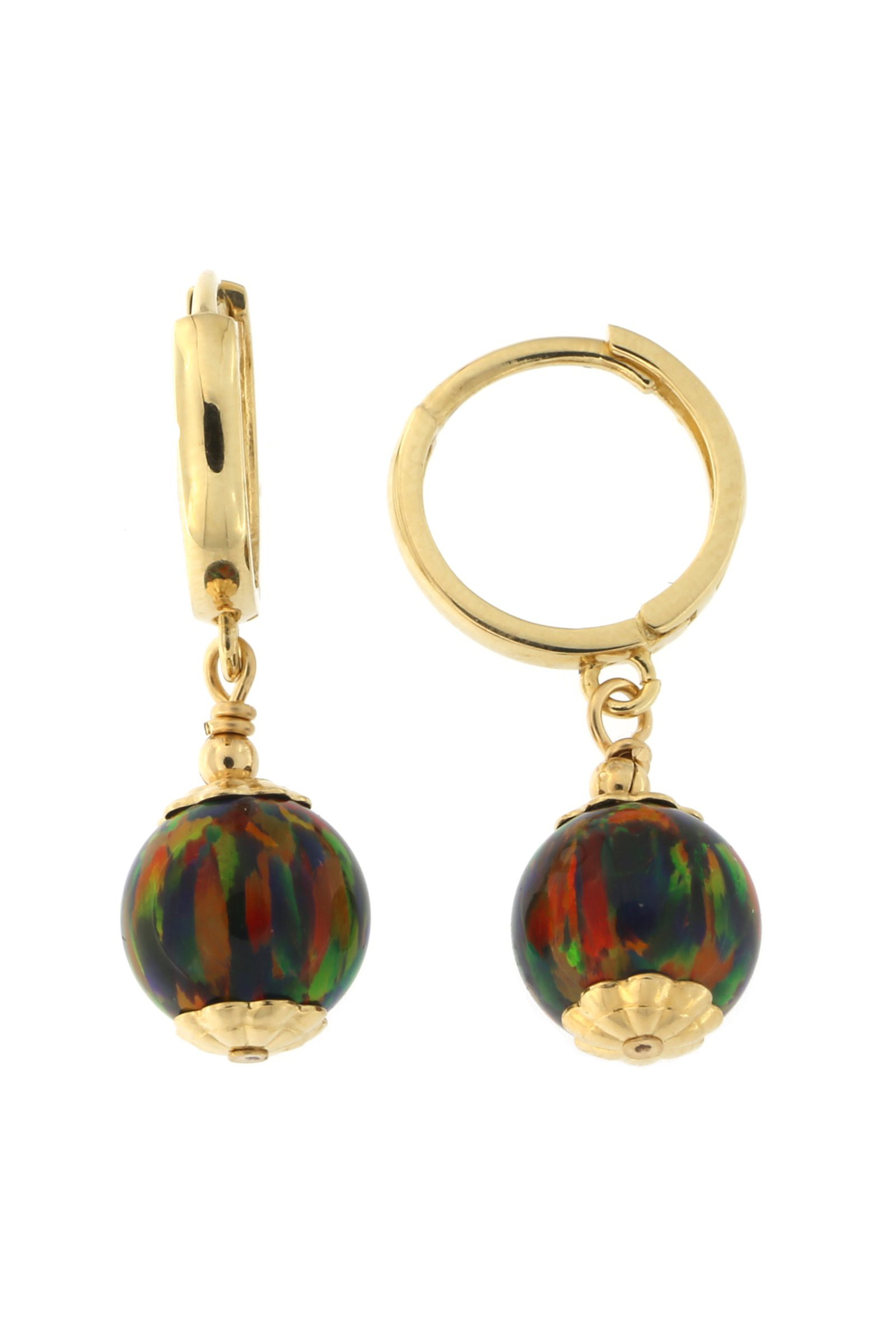 14k Yellow Gold 7mm Simulated Opal Huggie Dangle Earrings