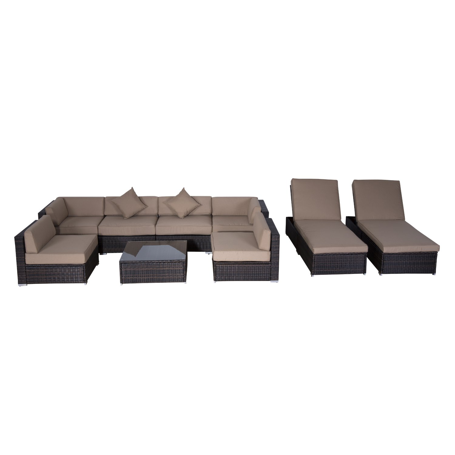 Outsunny 9 pc Outdoor Patio Rattan Wicker Sofa Sectional & Chaise Lounge Furniture Set - Desert Sand
