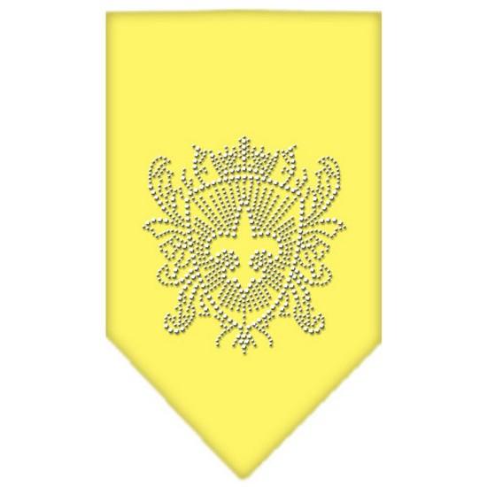 Fleur De Lis Shield Rhinestone Bandana Yellow Small