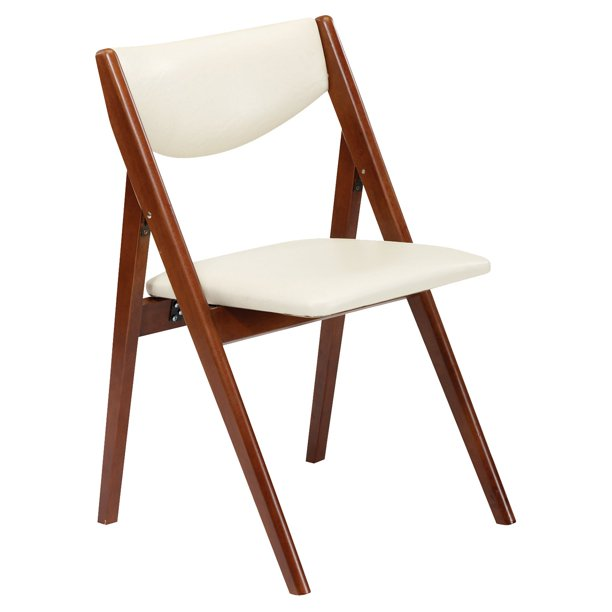 Mid-Century Modern Crème Vinyl Padded Folding Chair (2-Pack) with Wood Accents