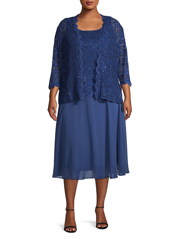 Plus Two-Piece Tea Length Mock Jacket & A-Line Dress Set