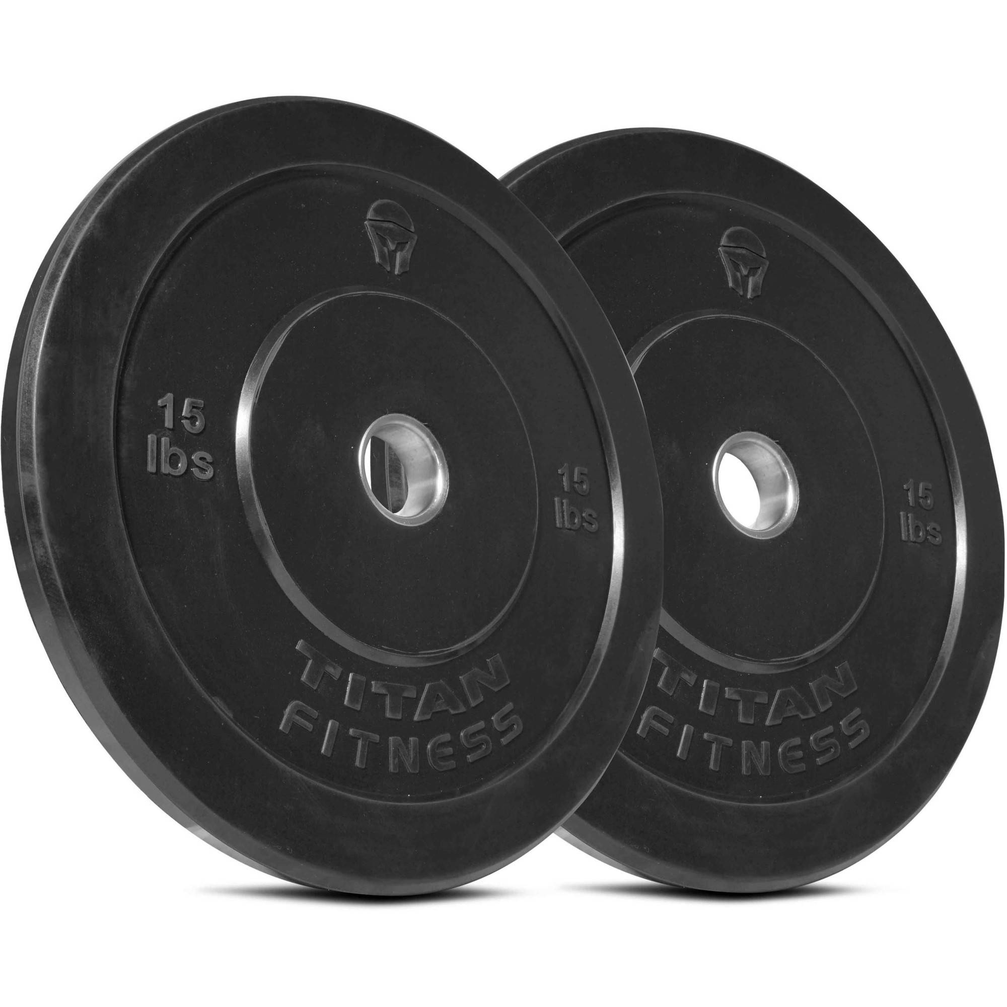 Titan Fitness Pair 15 lb Olympic Bumper Plate Black Benchpress Strength Training
