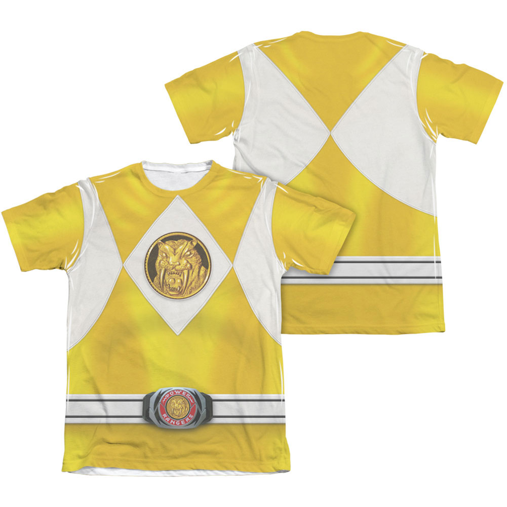 Power Rangers Men's  Yellow Ranger Emblem  Sublimation T-shirt White