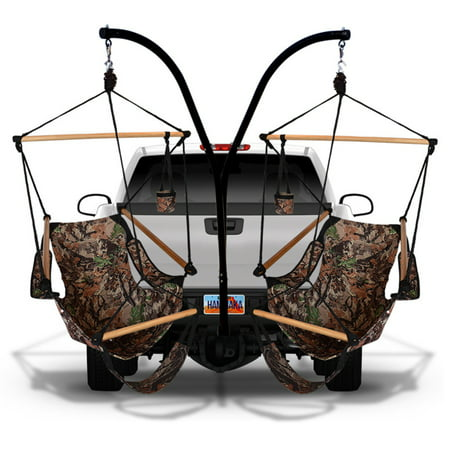 Hammaka Cradle Hammock Chairs with Trailer Hitch Stand Achieve relaxation on the go with the Hammaka Cradle Hammock Chairs with Trailer Hitch Stand, which features a set of two cradle hammock chairs made of durable fabric for comfort and reliability. This portable hammock set includes a steel trailer hitch stand, allowing you to attach it to your vehicle and sway your stress away in style. Hammaka Hammaka products, now brought to you by King's Pond, are designed to provide a comfortable getaway from all of life's stresses. It all started with the Original Hammaka Hammock Chair, but the wide variety of luxurious chairs is constantly growing in order to give you the perfect fit. You can also put your mind at ease, as well as your body, knowing that Hammaka has gone green by using renewable materials and environmentally responsible manufacturing processes committed to recycling and energy conservation.