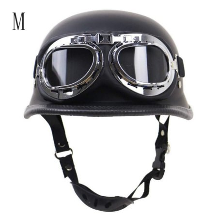 Vintage Motorcycle Motorbike Half Leather Helmet With Free Goggles for Camping Driving