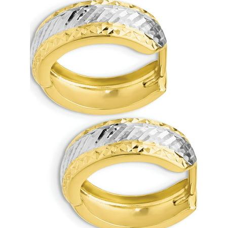 Leslie's 10k w/White Rhodium Polished and Diamond-cut Hoop Earrings (16x21) - image 2 de 3