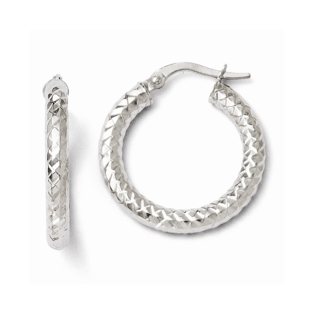 14k 3.00mm White Gold Polished and Textured Earrings (0.8IN x 0.8IN )