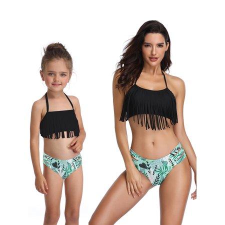 a599dcfa24dc Sexy Dance - Mother Daughter Family Tassel Matching Swimsuit Women Kids  Baby Girls Swimwear 2 piece Halter Bikini Set - Walmart.com