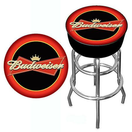 "Trademark Global Budweiser Bowtie 30"" Bar Stool, Red/Black"