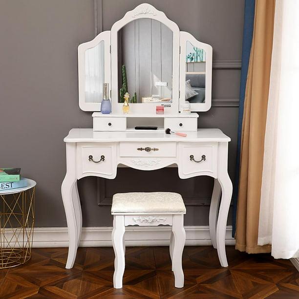 Ktaxon Tri Folding Mirror Vanity Set 5 Drawers Dressing Table Makeup Desk With Stool White Walmart Com Walmart Com