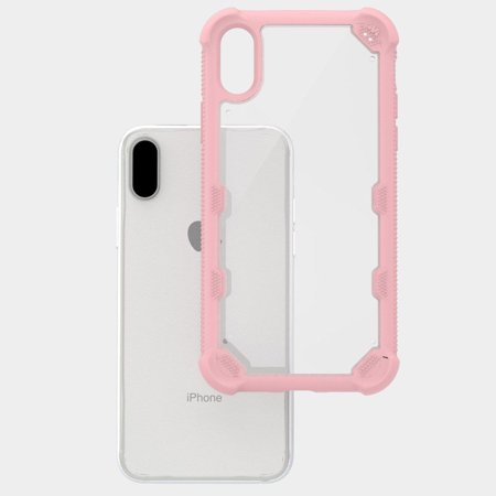 Apple iPhone X Case, by Insten FreeStyle Challenger Hard Plastic/Soft TPU Rubber Case Cover For Apple iPhone X, Clear/Rose Gold (Combo with Mirror Screen Protector) - image 3 of 3