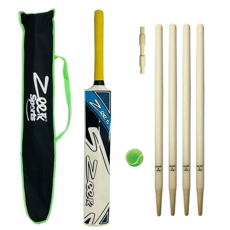 Cricket Bat Junior Size Kit with Wickets Stumps and Soft Tennis Tape Ball Red (Cricket Whole Kit)