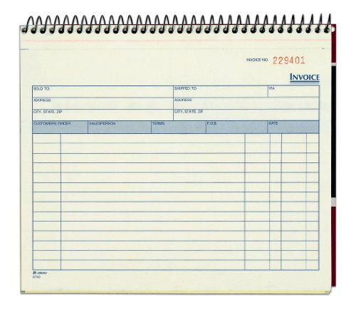Spiral Bound Invoice Book 2-Part Carbonless White Canary 50 Sets per Book by