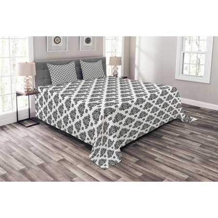 Damask Bedspread Set, Monochrome Abstract Shapes with Nature Inspirations Traditional Symmetrical Motifs, Decorative Quilted Coverlet Set with Pillow Shams Included, Black White, by Ambesonne