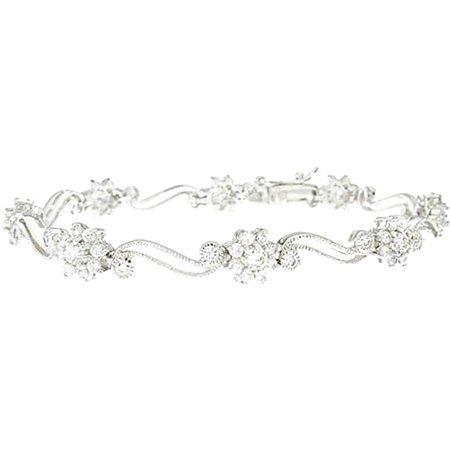 - Plutus Sterling Silver Platinum-Finish Antique Style Tennis Bracelet
