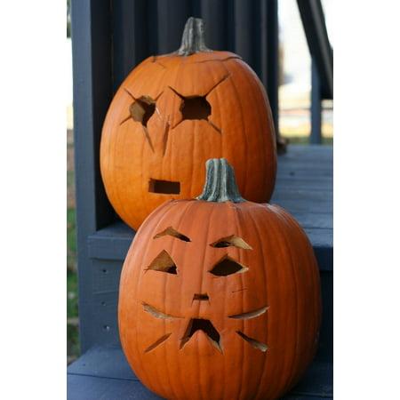 LAMINATED POSTER Celebration Jack O Lanterns Two Carved Pumpkin Poster Print 24 x 36](Christian Pumpkin Carving)