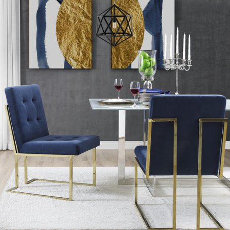 Leather Armless Set (Cecille PU Leather or Velvet Armless Dining Chair -  Set of  2 | Chrome Frame | Button Tufted | Modern & Functional by Inspired Home )
