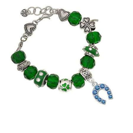 Silvertone Blue Crystal Horseshoe Green St. Patrick