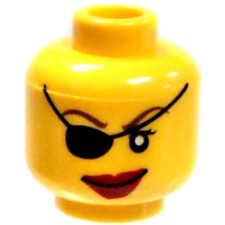 Yellow Female with Eye Patch and Dark Red Lipstick Minifigure Head