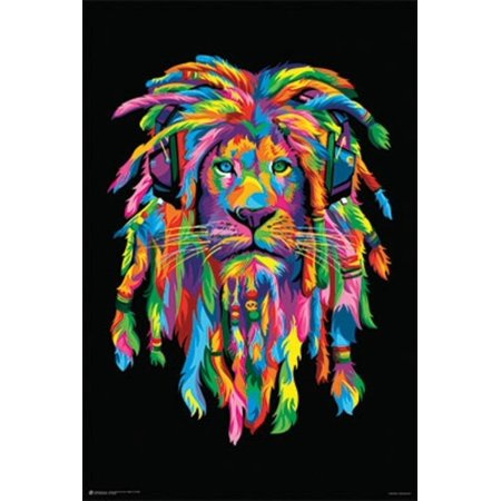 Lion Rasta Art Print Poster 24x36..., By Gotham City Online Ship from US - Party City Apply Online