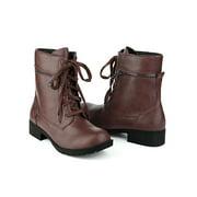 Women's Low Heel Lace Up Combat Boots Black (Size 5)