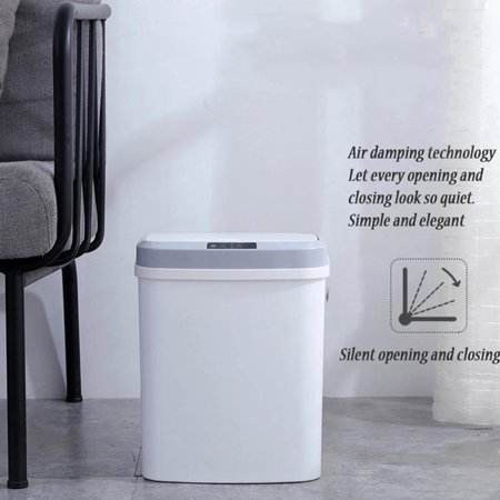 15L/4Gal Touch-free Trash Cans Smart Knock Trash Cans Automatic Garbage Can Infrared Motion Sensor with Lid for Kitchen Bathroom Office Bedroom - image 2 of 7
