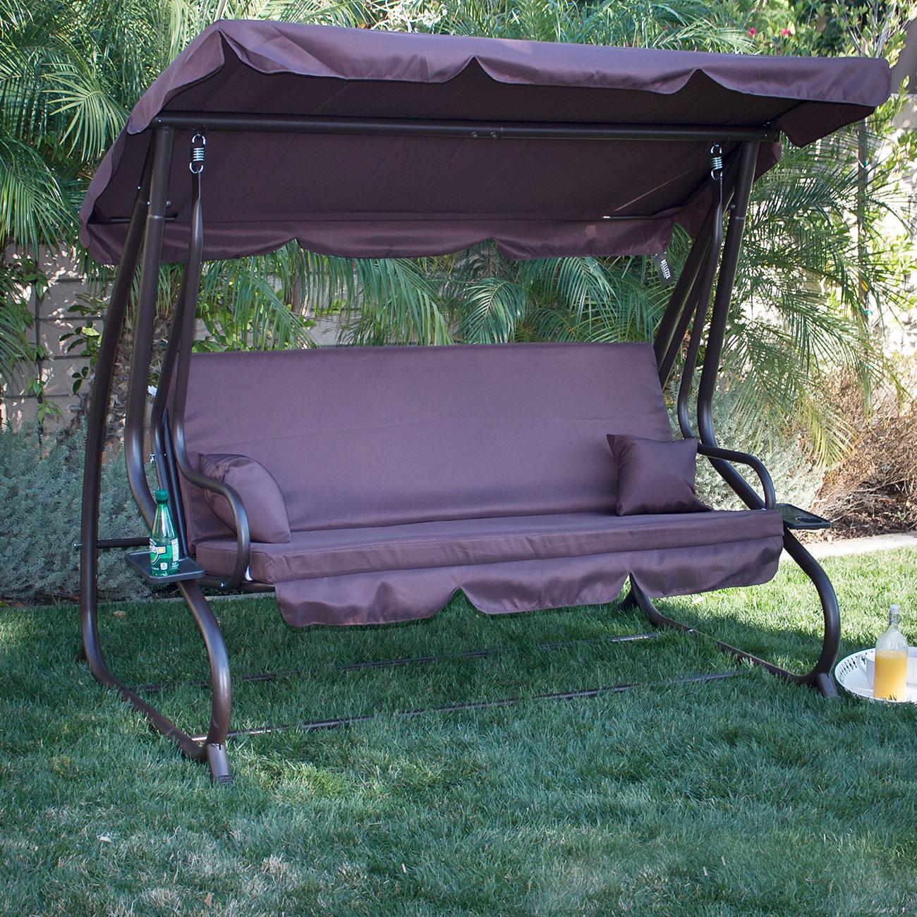 Belleze Patio Outdoor Padded Porch Swing Bed with Adjustable Tilt Canopy, Dark Brown