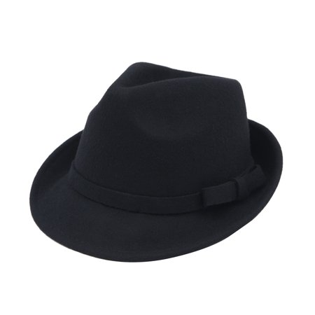 Women's Deluxe 100% Wool Solid Color Fedora - Red And Black Fedora Hat