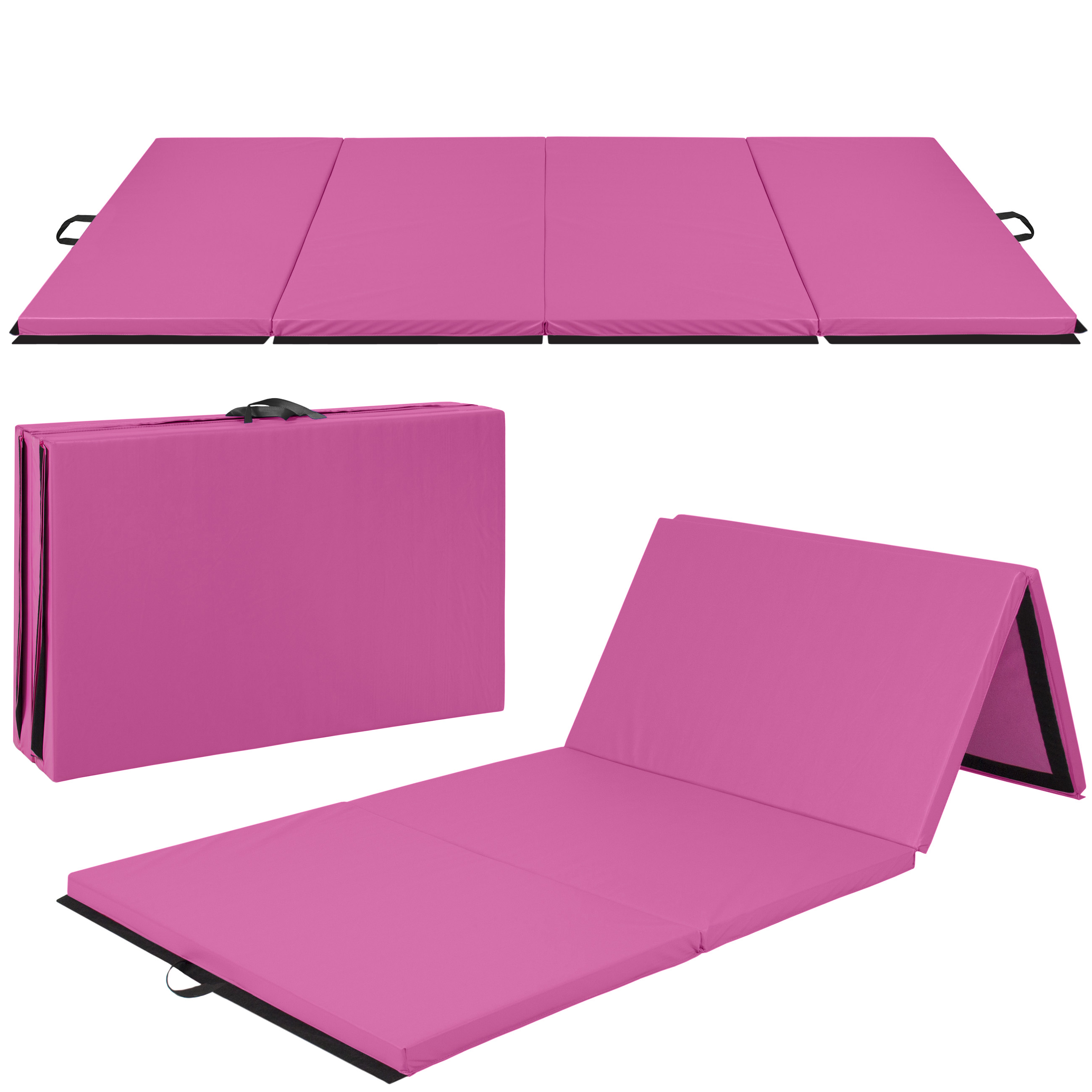 Best Choice Products 8ft 4-Panel Extra-Thick Foam Folding Exercise Gym Floor Mat for Gymnastics, Aerobics, Yoga, Martial Arts w/ Carrying Handles - Pink