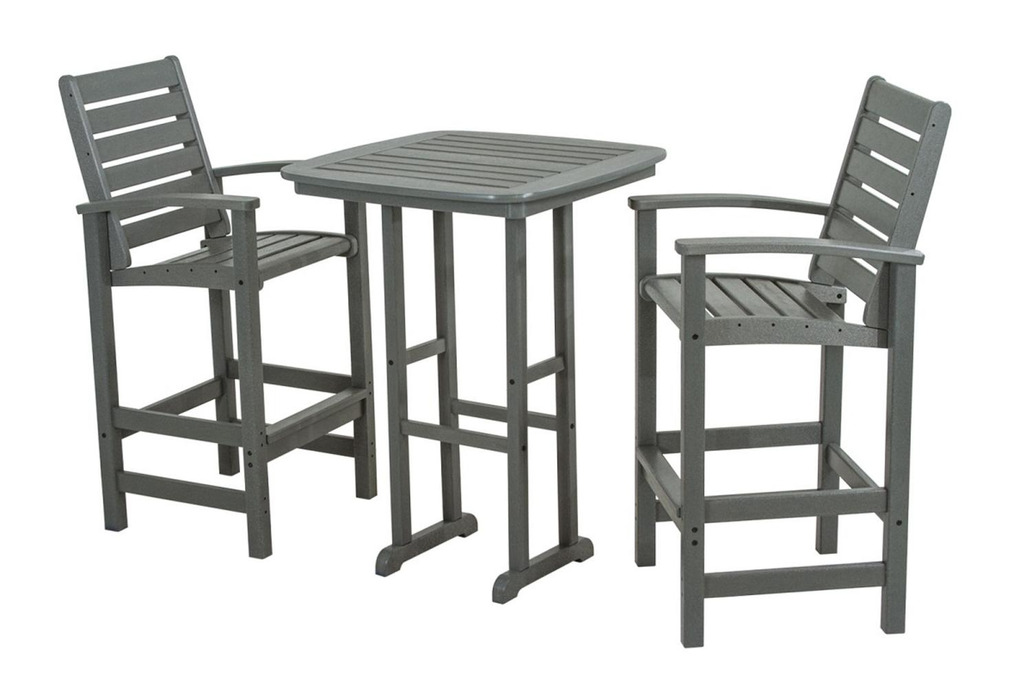 Outdoor Recycled Earth-Friendly 3-Piece Patio Dining Room Set Slate Gray by Eco-Friendly Furnishings