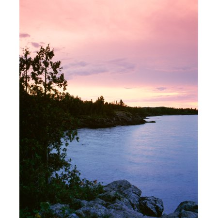 USA Michigan Upper Peninsula Copper Harbor Lake Superior High angle view of a harbor in dusk Canvas Art - Panoramic Images (27 x 22)