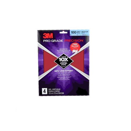3M 26100PGP-4 Pro Grade 100 Grit Medium Advanced Sanding (Ryobi Sanding Sheets)