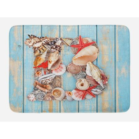 Letter B Bath Mat, Alphabet ABC Ocean Theme Elements Starfish Seashell Pale Color, Non-Slip Plush Mat Bathroom Kitchen Laundry Room Decor, 29.5 X 17.5 Inches, Pale Blue Ivory Dark Coral, Ambesonne