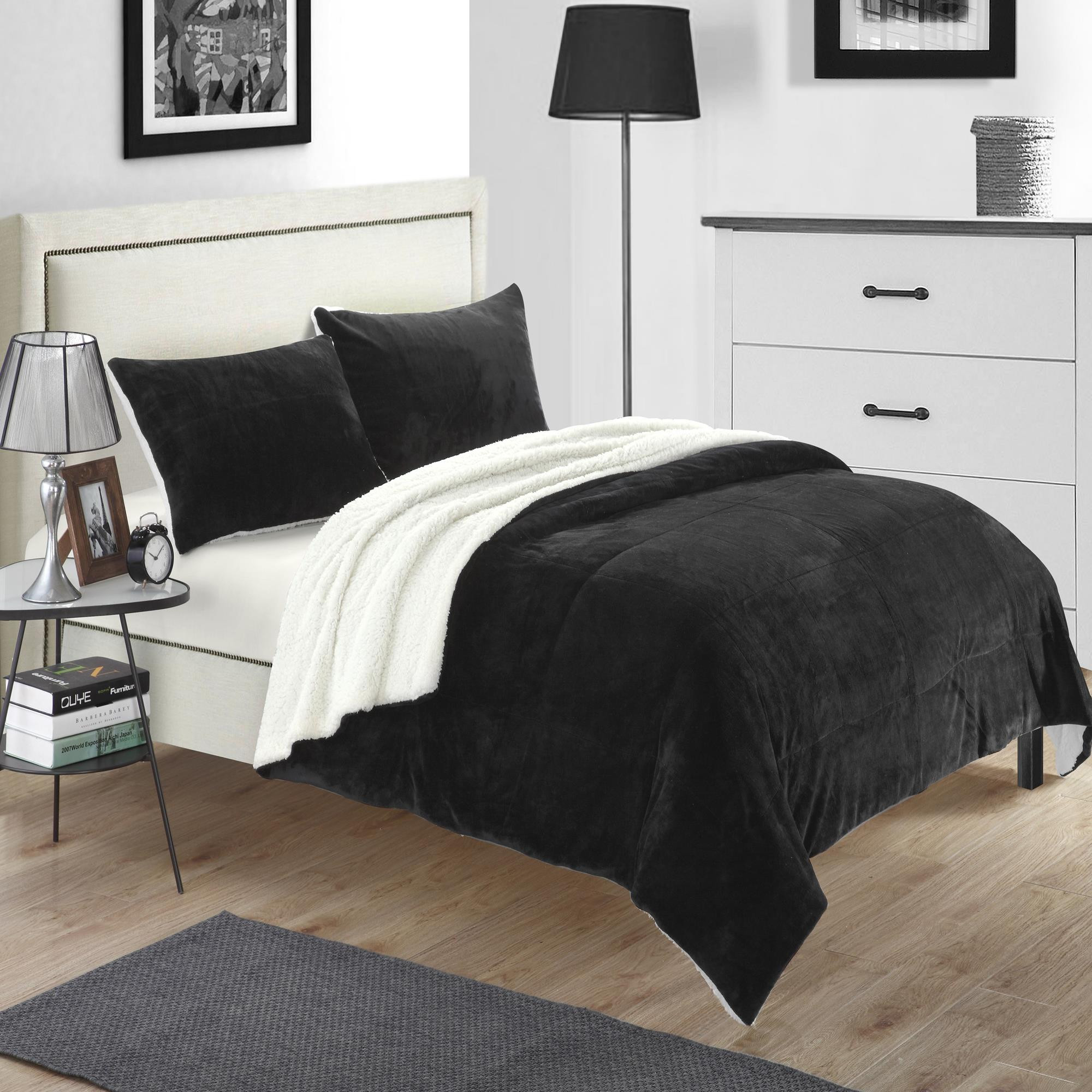 Evie Plush Microsuede Sherpa Lined Black 7 Piece Blanket In A Bag Set