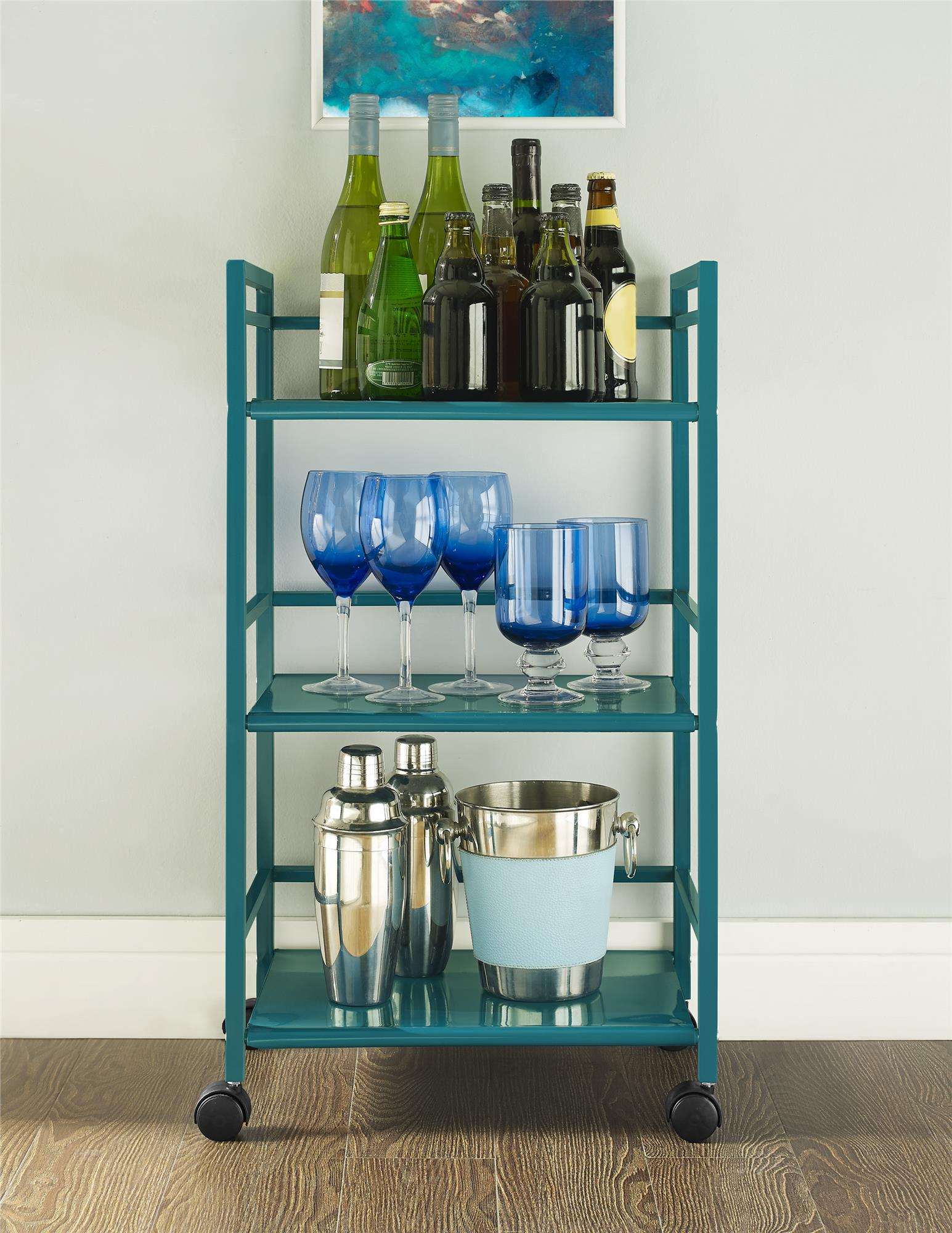 Ameriwood Home Marshall 3 Shelf Metal Rolling Kitchen Cart, Multiple ...