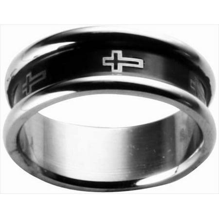 Ring Rimmed Black Cross Style 306 Size 7 - image 1 de 1