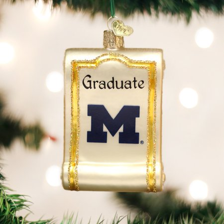 Old World Christmas University of Michigan Wolverines Diploma Ornament 60712 New - Walmart.com