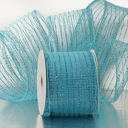 Light Blue 4 inch x 20 yards Metallic Thread Striped Deco Mesh Wreath Decorative - Mesh Ribbon