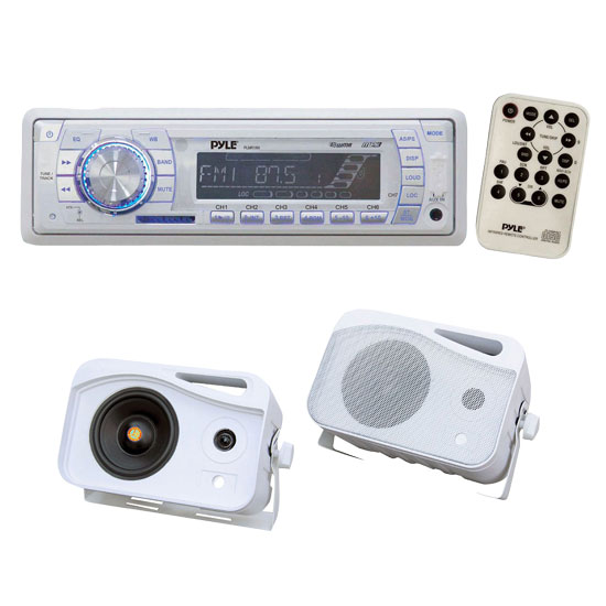 Pyle Full Audio Package PLMR19W Tuning Radio with SD/MMC/...