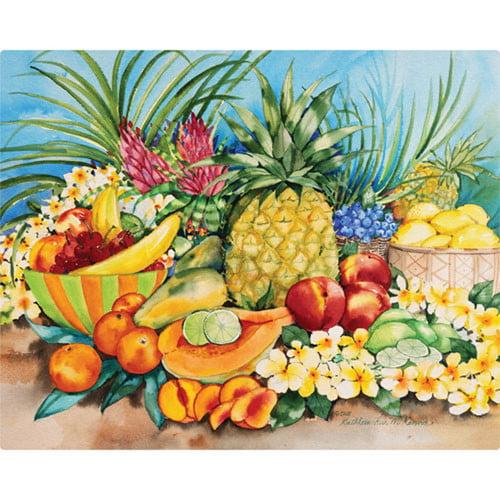 Magic Slice 12'' x 15'' Tropical Fruit Design Cutting Board