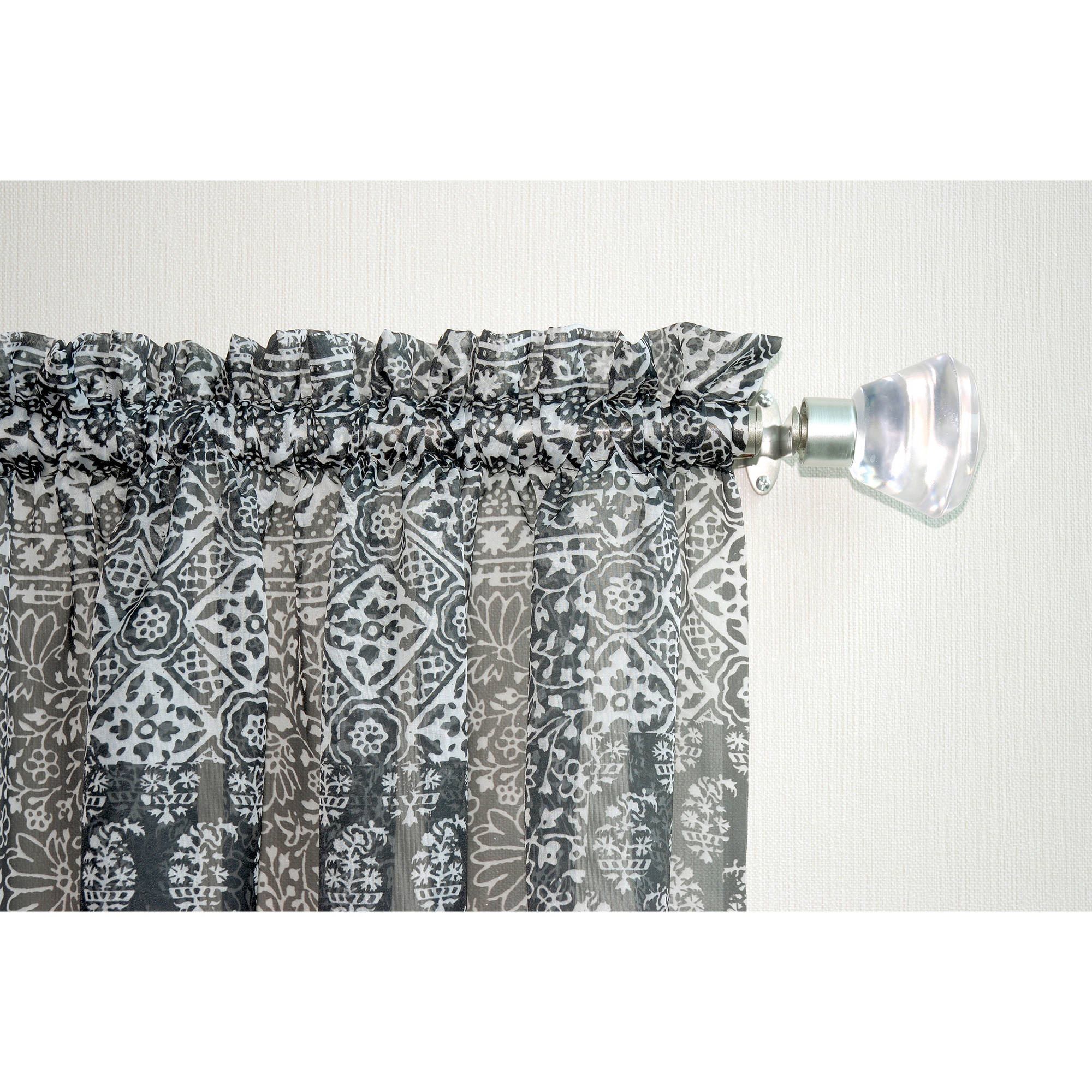 Mainstays Marjorie Sheer Voile Curtain Panel Walmartcom - Chocolate coral and gold shower curtain