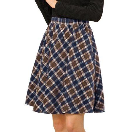 Allegra K Women Plaids Elastic Waist Knee Length Worsted A Line Skirt L Brown