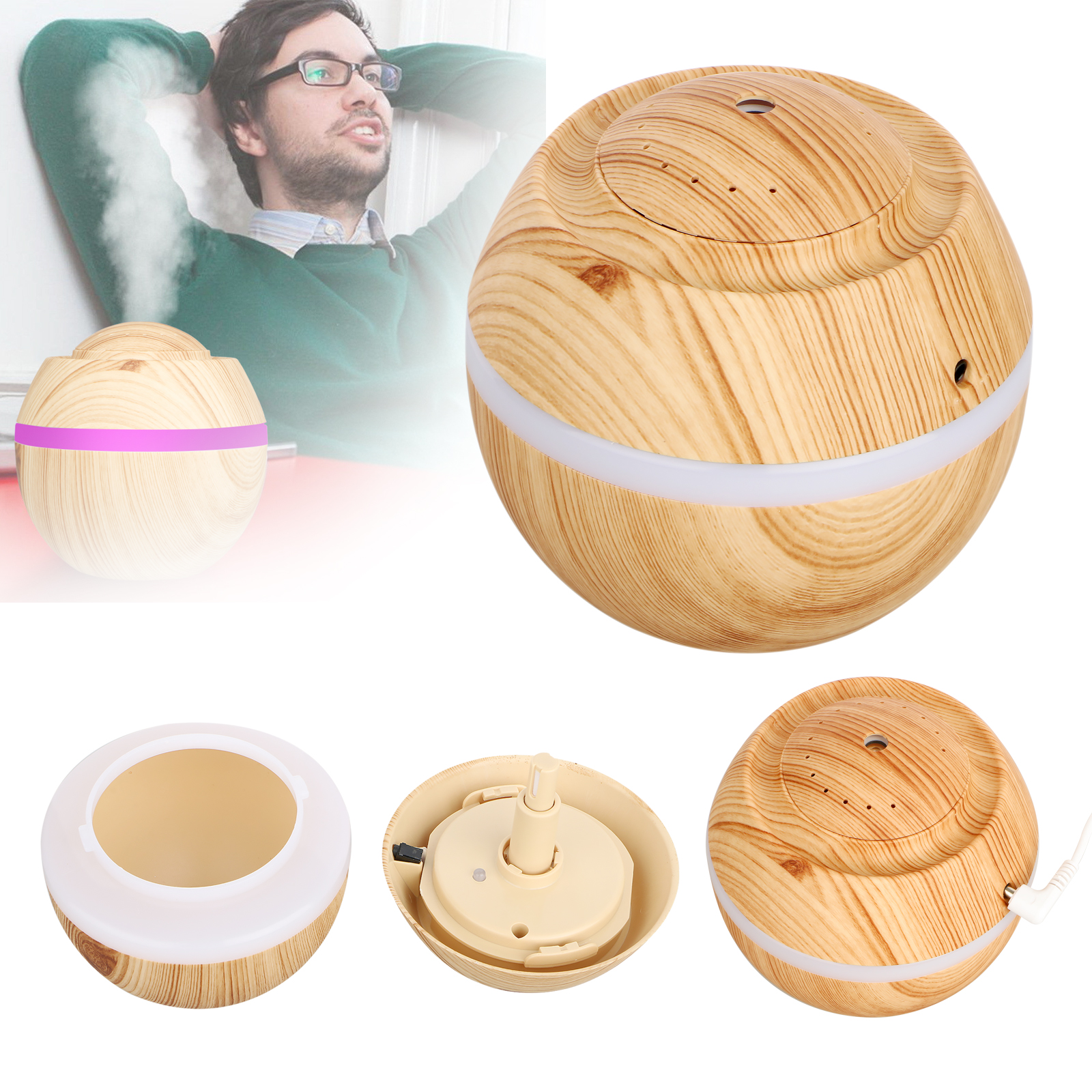 500ml Cool Mist Humidifier, EEEKit Wood Grain Ultrasonic Aromatherapy Diffuser Air Humidifier with 7 Color LED Mode Light for Office, Home Living Room, Yoga
