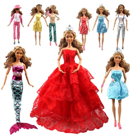 Aidonger 110PCS Barbie Doll Clothes and Accessories Include-10 PCS Clothes Party Gown Outfits +100 PCS Doll Shoes Hanger Magic wand for Girl's Birthday Xmas Gift (Barbie Halloween Party Games)