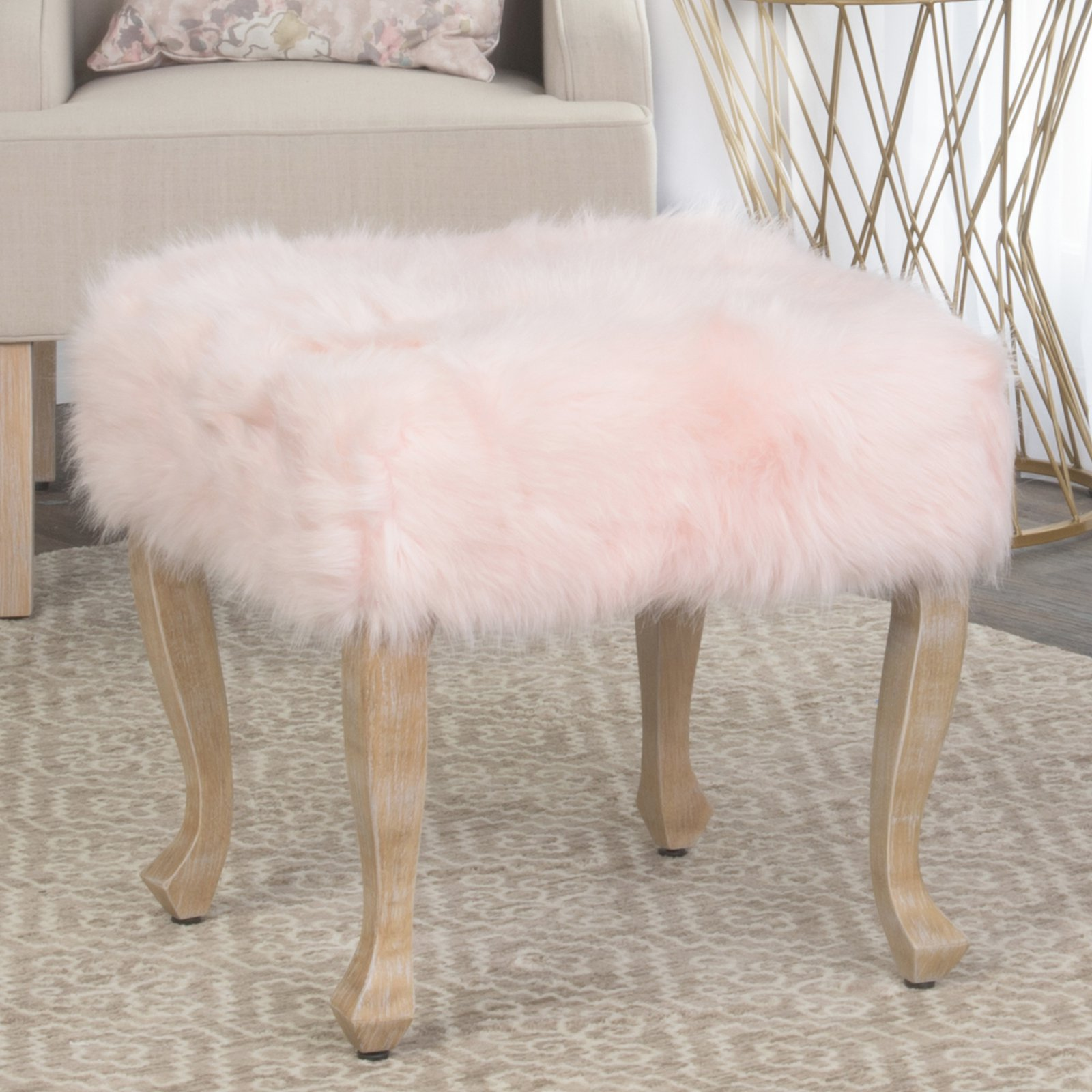 HomePop Faux Fur Ottoman with Wooden Legs, Multiple Colors
