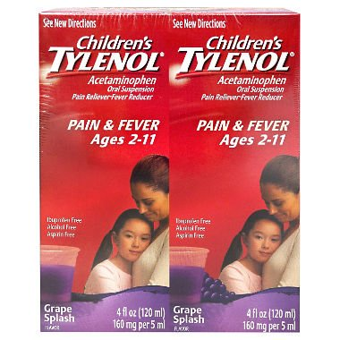 Children's Grape Flavored Tylenol Oral Suspension Fever Reducer and Pain Reliever, 2 pk./4 fl. oz. Tylenol Childrens Oral Suspension