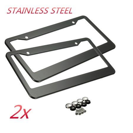 Stainless Steel License Plate Tag (2pcs Car Number License Plate Frame With Screw Caps Tag Cover Metal Stainless Steel truckpart Black Universal Vehicle SUV Van Caravan Front Rear US)
